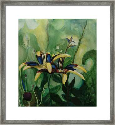 Framed Print featuring the painting Glowing Flora by Nicolas Bouteneff