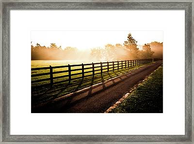 Framed Print featuring the photograph Glowing Fog At Sunrise by Shelby Young