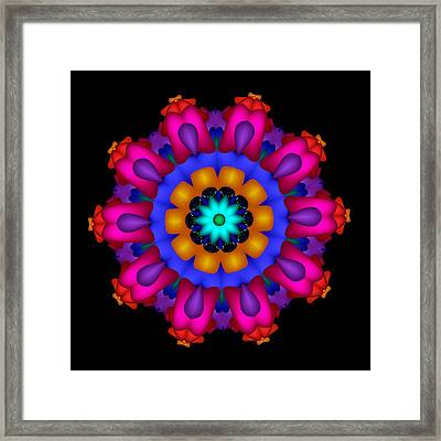 Glowing Fractal Flower Framed Print
