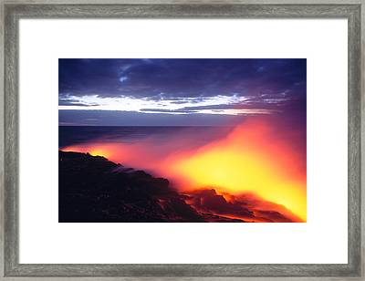 Glowing Lava Flow Framed Print