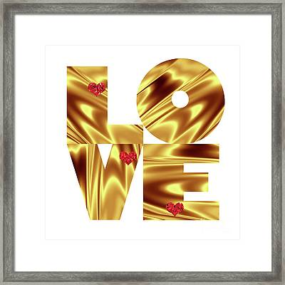 Glowing Love - Gold Red Framed Print by Prar Kulasekara