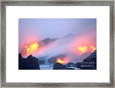 Glowing Orange Lava Framed Print by Mary Van de Ven - Printscapes