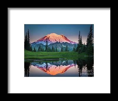 Snowy Mountain Framed Prints