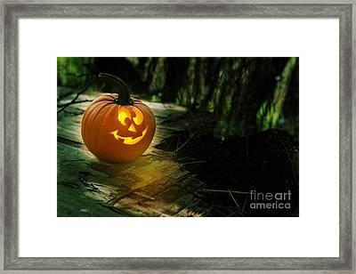 Glowing Pumpkin Framed Print by Amanda Elwell