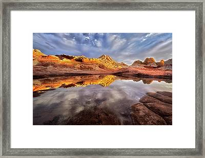 Glowing Rock Formations Framed Print