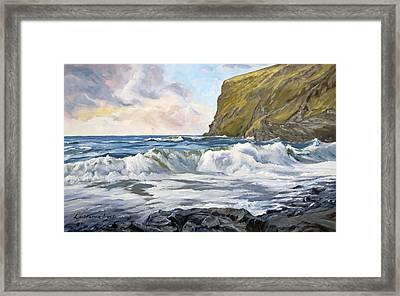 Framed Print featuring the painting Glowing Sky At Pencannow Point by Lawrence Dyer