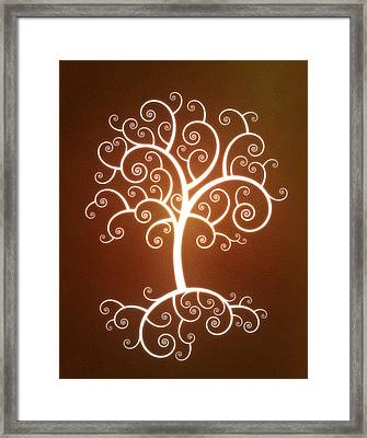 Glowing Tree With Roots Framed Print by Chad Baker
