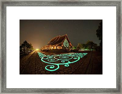 Framed Print featuring the photograph Glowing Wat Sirintorn Wararam Temple, Ubon by Pradeep Raja Prints