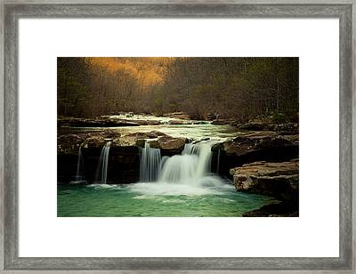 Glowing Waterfalls Framed Print