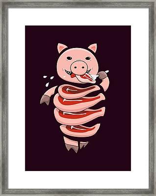 Gluttonous Self-eating Pig Framed Print by Boriana Giormova