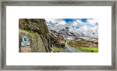 Glyderau Sign Framed Print by Adrian Evans