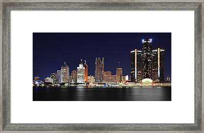 Gm Towers Over Detroit Framed Print by Frozen in Time Fine Art Photography