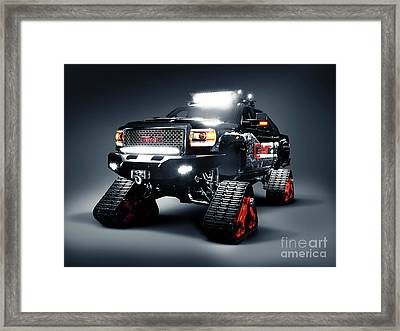 Gmc Pickup Truck On Snow Tracks Framed Print