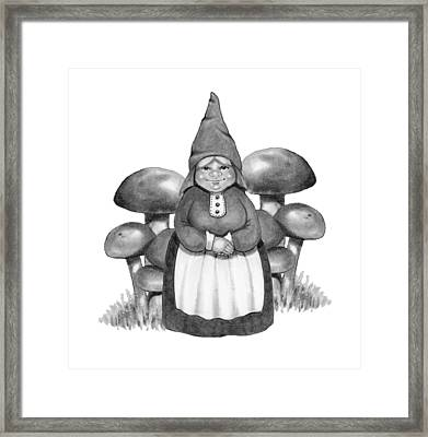 Gnome Lady With Mushrooms Framed Print