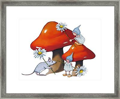 Gnomes And Toadstools Framed Print