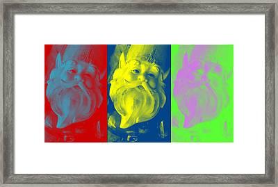 Gnomes In Crazy Color Framed Print by Jennifer Coleman