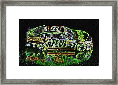 Go Daddy Racing Champion Neon Framed Print by Bruce Roker