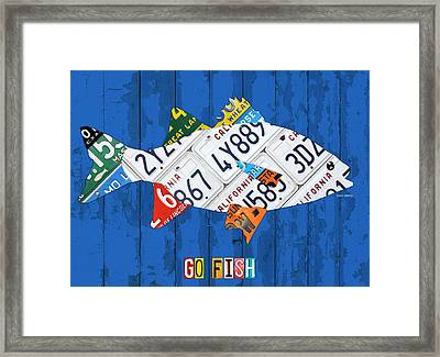 Go Fish Freshwater Bass Recycled Vintage License Plate Art Framed Print