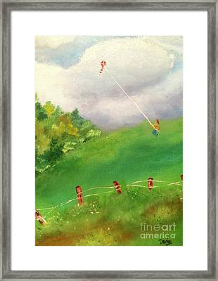 Framed Print featuring the painting Go Fly A Kite by Denise Tomasura
