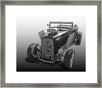Go Hot Rod In Black And White Framed Print by Gill Billington