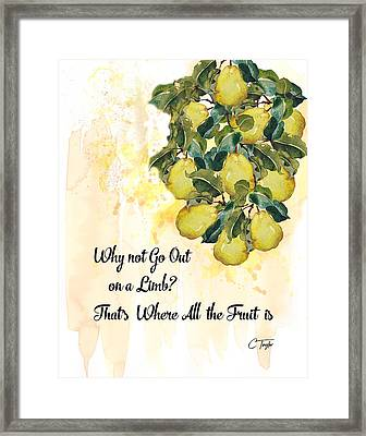 Framed Print featuring the digital art Go Out On A Limb by Colleen Taylor