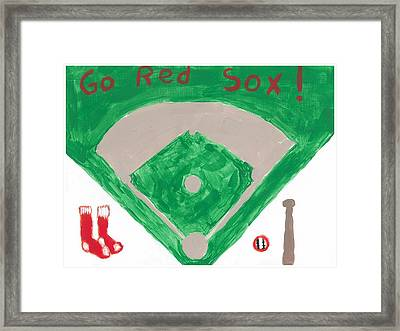 Go Red Sox Framed Print by Rosemary Mazzulla