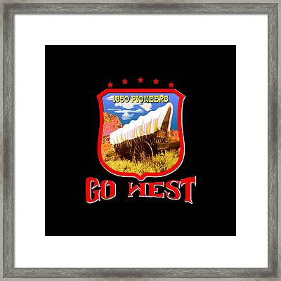 Go West Pioneer - Tshirt Design Framed Print by Art America Gallery Peter Potter