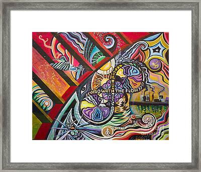 Go With The Flow Framed Print by Robin Kirkpatrick and Ginja Lion