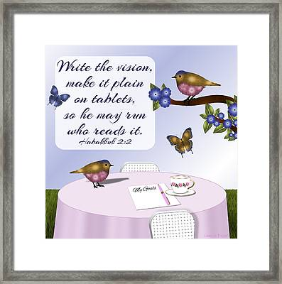 Goal Setting With Nature- Pink Birds Tablescape Framed Print