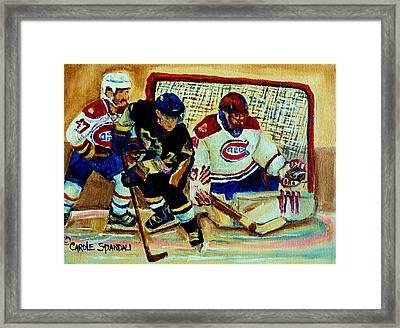 Goalie  And Hockey Art Framed Print by Carole Spandau