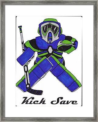 Goalie Blue Green Framed Print by Hockey Goalie