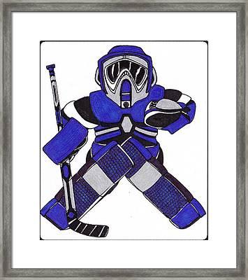 Goalie Blue Framed Print by Hockey Goalie