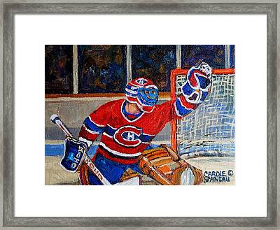 Goalie Makes The Save Stanley Cup Playoffs Framed Print by Carole Spandau