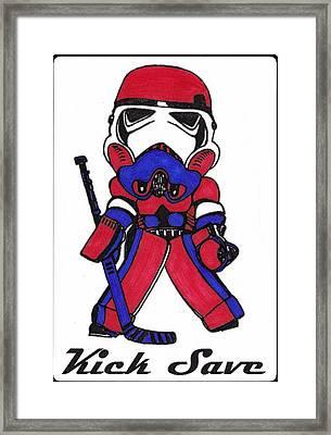 Goalie Red White And Blue Framed Print by Hockey Goalie