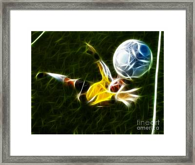 Goalkeeper In Action Framed Print by Pamela Johnson