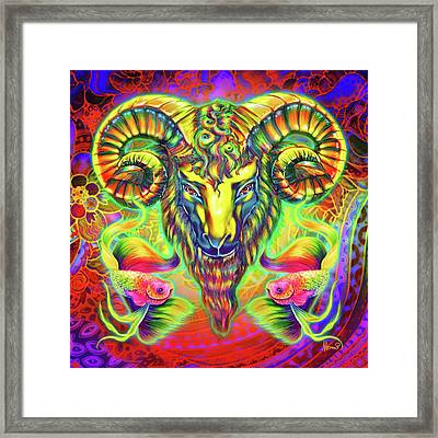 Goat And Goldfishes Framed Print by Naomi Jansen