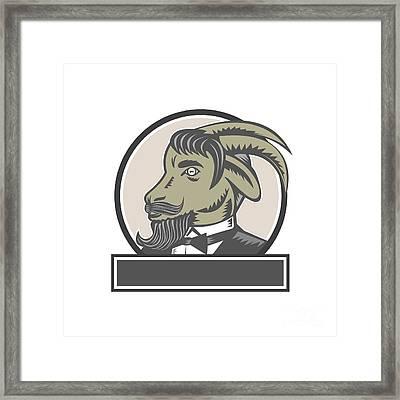 Goat Beard Head Circle Woodcut Framed Print by Aloysius Patrimonio