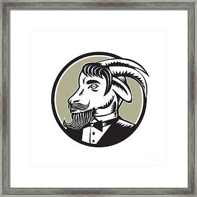 Goat Beard Tuxedo Circle Woodcut Framed Print by Aloysius Patrimonio