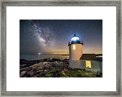 Goat Island Lighthouse At Night Framed Print by Benjamin Williamson