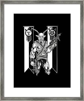 Goat War Black Framed Print