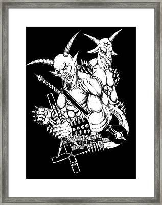 Goatlord And Baphomet Black Framed Print