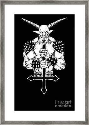 Goatlord And The Cross Black Framed Print by Alaric Barca
