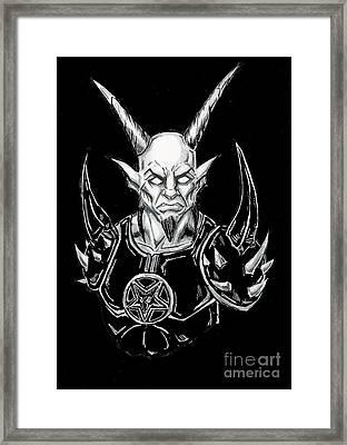 Goatlord Armor Black  Framed Print by Alaric Barca