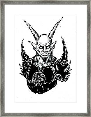 Goatlord Armor White Framed Print by Alaric Barca