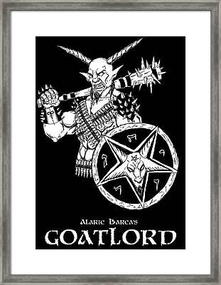 Goatlord Black Framed Print by Alaric Barca
