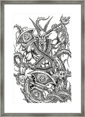 Goatlord In The Myst Framed Print by Alaric Barca