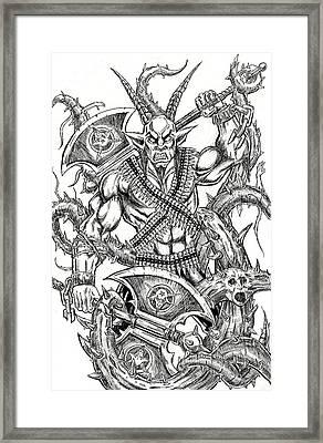 Goatlord In The Myst Framed Print