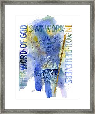 God At Work Framed Print by Judy Dodds
