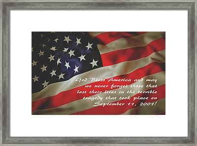 God Bless America September 11 2001 Framed Print by Floyd Snyder