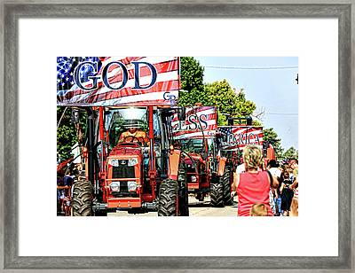 Framed Print featuring the photograph God Bless America And Farmers by Toni Hopper